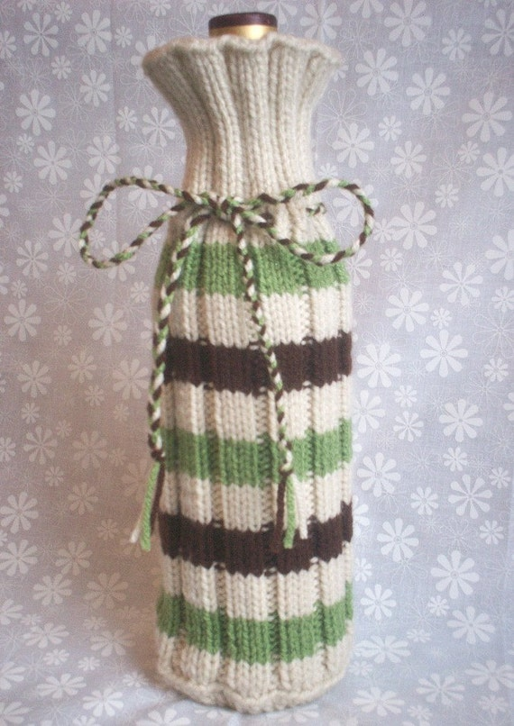 Hand Knit Wine Bottle Cozy Bag - Offwhite Chocolate Brown Tea Leaf Green