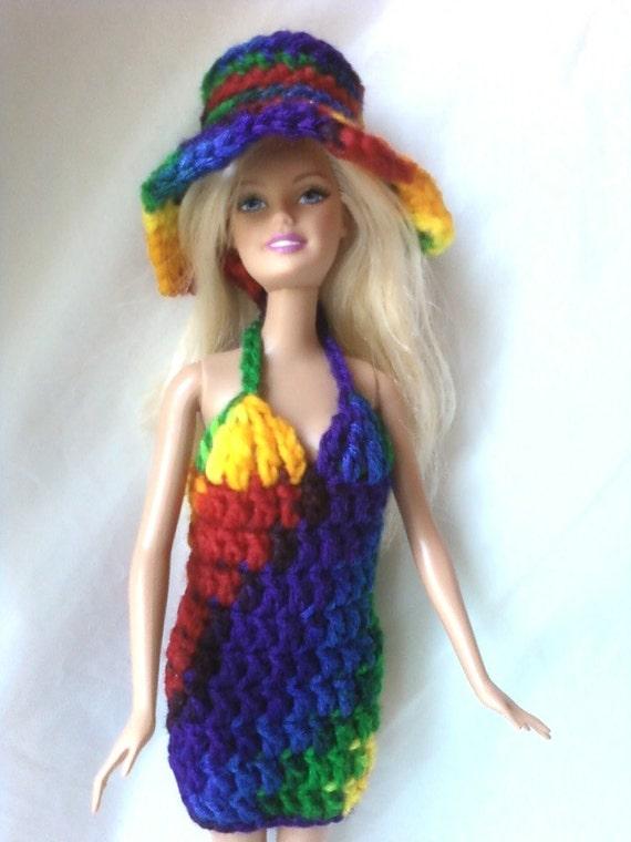 Barbie or Fashion Doll Halter Dress with Hat - Rainbow - Red Orange Yellow Green Blue Purple