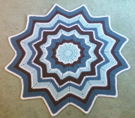 Crocheted Round Ripple Baby Blanket Lap Afghan - Blue Chocolate Brown White