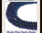 Black Velvet - 4x6mm Black AB Metallic Micro-Faceted Crystal Rondelles - 25 pieces