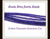 2x3mm Tanzanite Gemstone Fire Polished Czech Crystal Rondelles- 25 pieces