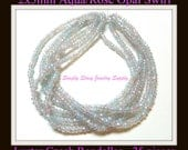 2x3mm Aqua/Rose Opal Swirl Luster Fire Polished Czech Crystal Rondelles- 25 pieces
