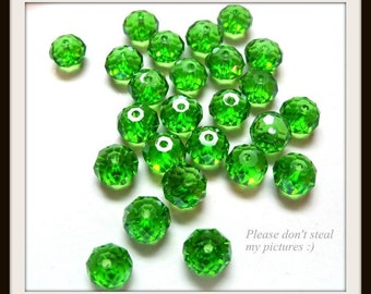 4x6mm Multi-Faceted Peridot Green Crystal Rondelles - 25 pieces