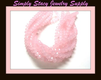Powder Pink - 6x8mm Micro-Faceted Pink Crystal Rondelles - 25 pieces