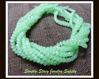 Light Opaque Green - 3x5mm Micro-Faceted Green Matte Crystal Rondelles - 25 pieces