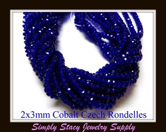 2x3mm Cobalt Gemstone Cut Fire Polished Czech Crystal Rondelles- 25 pieces