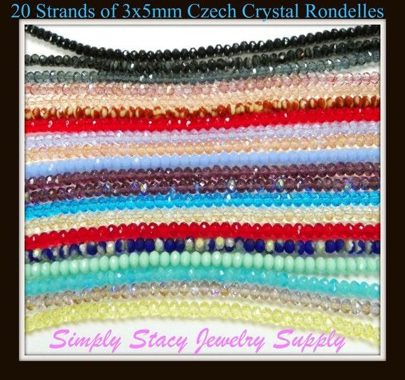 Twenty Strands of 3x5mm Gemstone Cut Fire Polished Czech Crystal Rondelles- approx. 1000 pieces