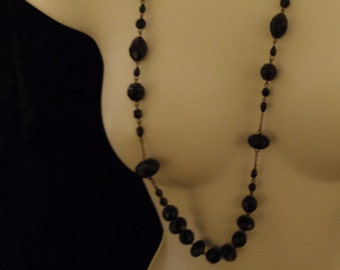 Vintage Necklace Black Glass beads and Plastic Black beads Chained Necklace