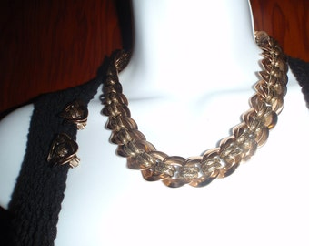 Vintage Necklace By Bulatti - Bronze With Clip on Earring For Women