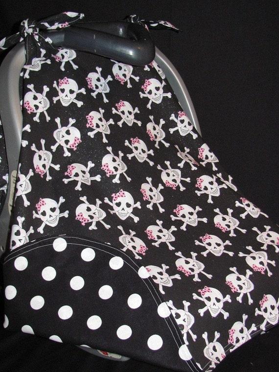 Girly Skulls Infant Car Seat Canopy - READY TO SHIP