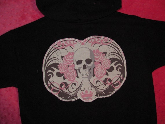 Pink Skulls Personalized Hooded Sweatshirt for Toddler/Child - Size 4/5