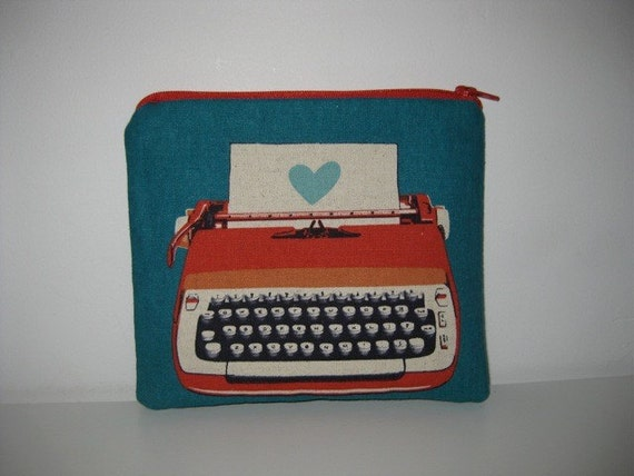 Ruby Star Typewriter Padded zippered Pouch
