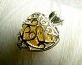 Worry Locket - citrine gemstones in filigree heart locket and sterling silver necklace