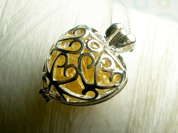 SALE SALE SALE  - Worry Locket - citrine gemstones in filigree heart locket and sterling silver necklace