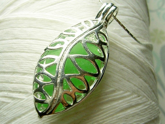 Worry Locket - vintage green seaglass filigree leaf locket and sterling silver necklace