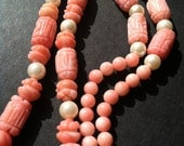 Natural Pearl and delicate pink Coral Beaded necklace