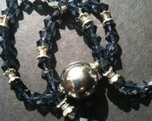 Storm Blue and Silver ,Ball Detail Beaded Necklace