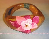 SALE 50 OFF - Hand painted Wood Bangle - Flower