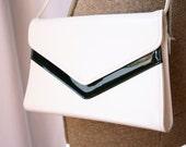 New Vintage 1980's Purse White & Black  Hipster  Shoulder Bag