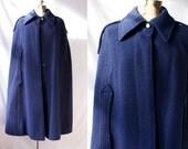 1960's  Cape Vintage Navy Blue Authentic German Wool Warm Winter Cloak Classic MidCentury Buttondown Coat  Medium