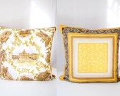 Rome Pillow Cover Vintage Scarf  Decorative Throw Double Sided  OOAK 24 x 24