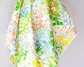 50's / 60's Vintage Fabric .  Springtime Flowers .  Cotton Textile . Impressionist Painting