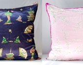 Vintage Scarf Pillow Cover JAPAN & Cherry Blossom, 30x30 Decorative Throw Cushion Upcycled EcoChic HomeDecor