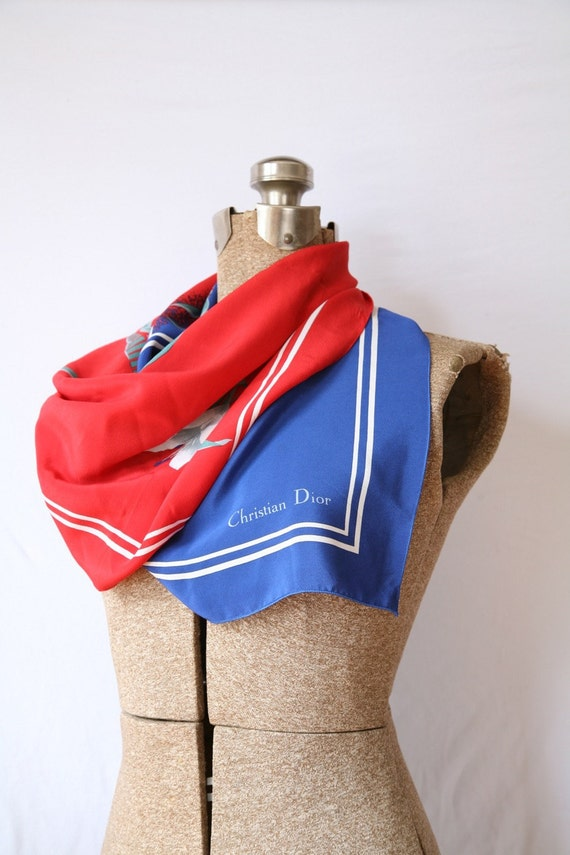 Vintage DIOR Scarf, Silk Square,  Red Blue White Lily