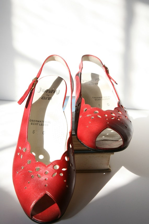 ARA of Germany Heels, Red Peeptoe Shoes, Slingback Size 9 Cut-Out Design