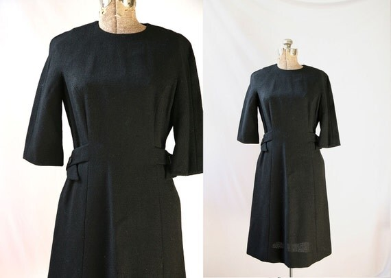 REDUCED Vintage 50's Black Dress  Hannah Troy Shift