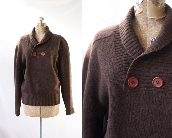 1960's Shawl Collar Sweater Vintage Brown Shetland Wool Authentic New England Winter