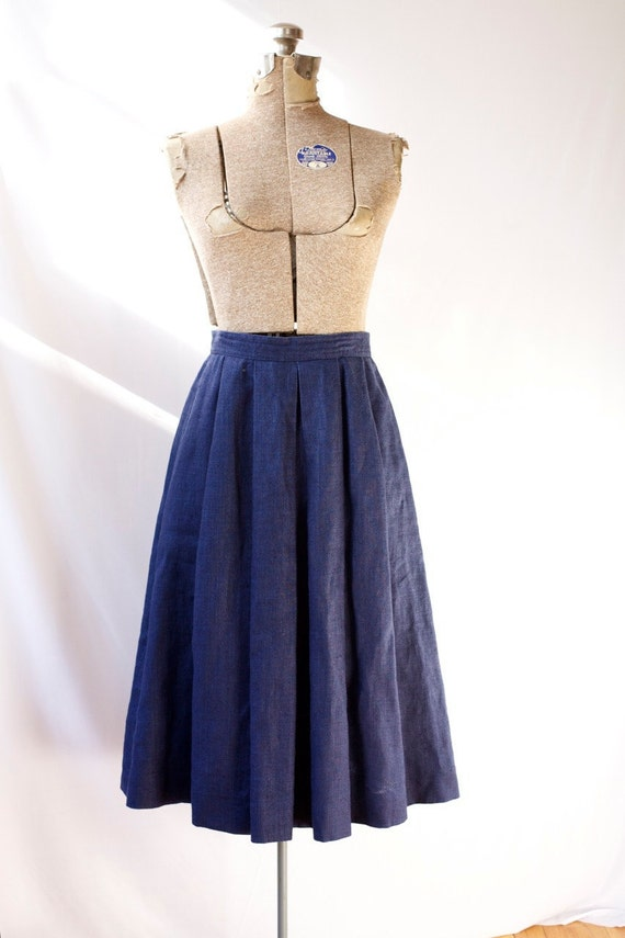 Pleated Linen Skirt Navy Blue with Pockets Vintage Back to School Fashion