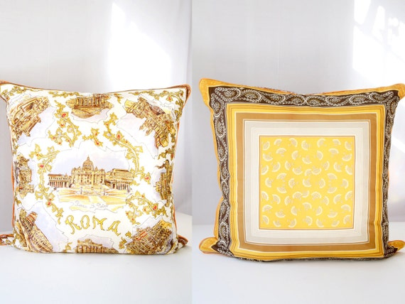 """Vintage Scarf Pillow Cover, Silk Square, Rome Decorative Throw Cushion Gold Eco-Chic Upcycled 24"""" x 24"""""""