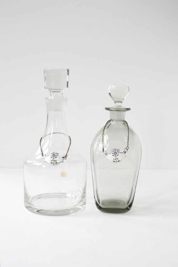 Vintage  Decanters .  Gin and Fine .  Bohemia Glass  - Made in Czechoslovakia