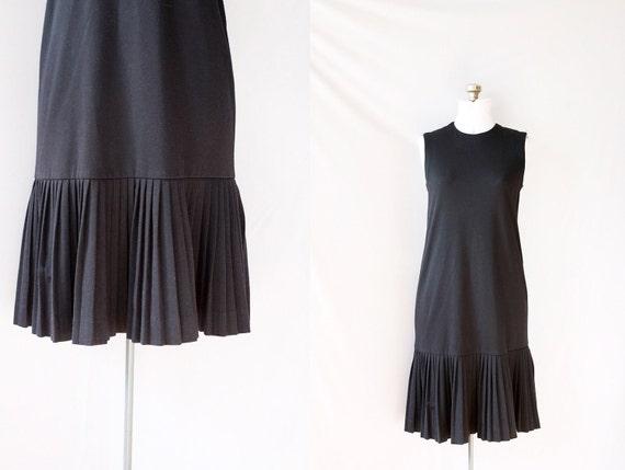 Vintage 80's Drop Waist Dress, Pleated  Black , Sleeveless