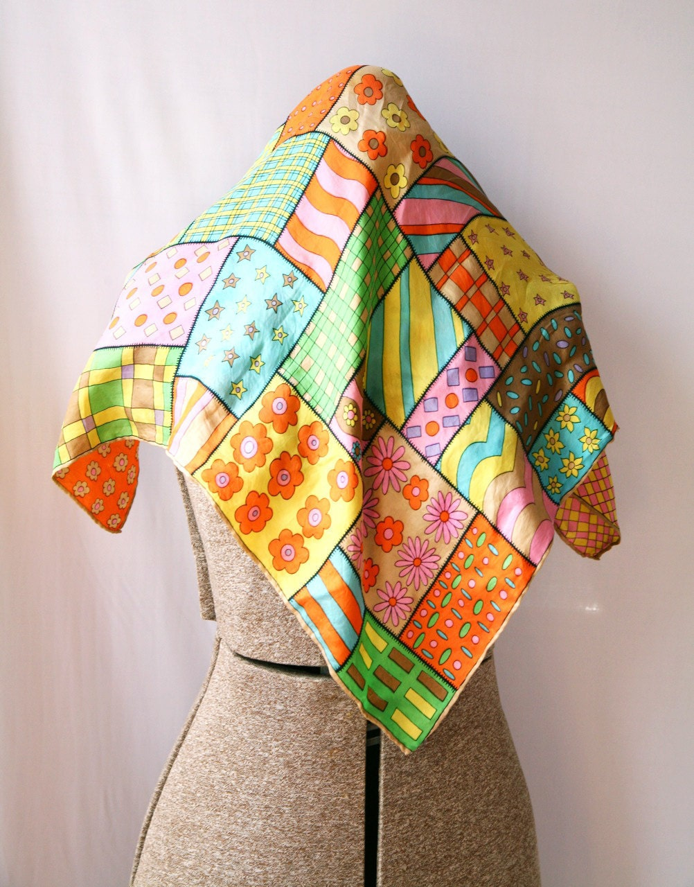 Vintage Silk Scarf 60s Patchwork Square Bright by VintageCommon Vintage Silk Scarves