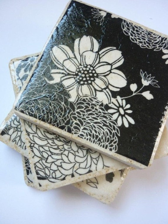 Black and White Bloom Coasters
