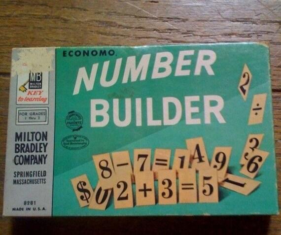 Kids homeschool decor Midcentury 1950s Economo Number Builder Game from 50s- Vintage Numbers Gift