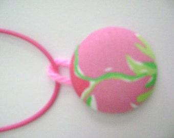 Lilly Pulitzer Preppy Pink and Green Fabric Pendant/Necklace