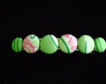 Preppy Lilly Pulitzer Preppy Green and Pink Fabric Hair Barrette