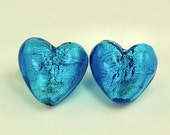 2 - Aqua Venetian Glass Sterling Silver Foil Heart Bead - 20mm Puffy Heart Beads