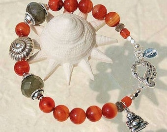 Carnelian, Labradorite and Silver Bracelet with Buddha Charm - 8 Inches