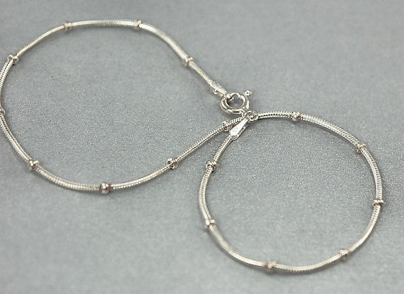 Anklet Chain - Satellite Snake Chain - Sterling Silver Anklet - 9 Inches - Stamped 925 Italian Chain