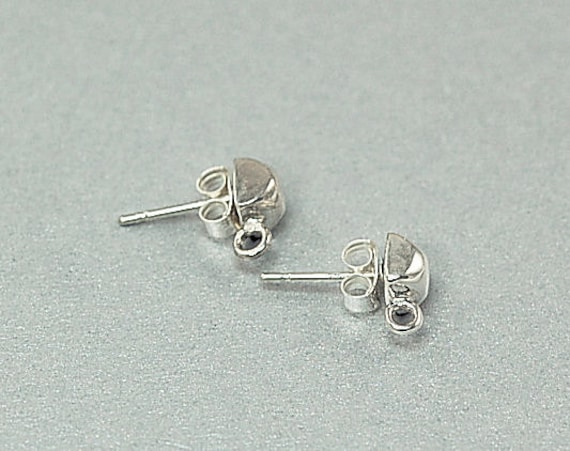 Sterling Silver Earring Posts with Shiny Faceted Cube - Zen Simplicity