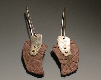 Handcast Dangling Taupe Paper Earrings with Handmade French Wires and Sterling Silver Accents