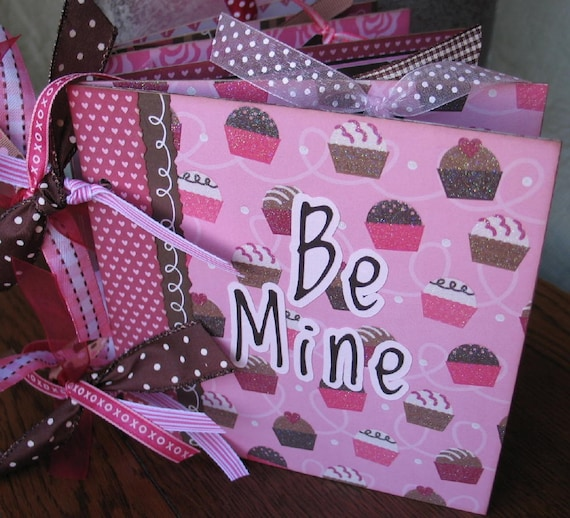 Valentine Scrapbook Album Photo Memory Book BE MINE 6x6 Chipboard Premade READY to Ship