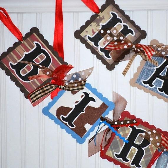 Happy Birthday Cowboy Banner Decoration By Craftysweethearts