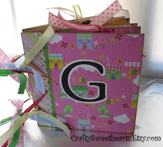 Baby Girl Scrapbook Photo Album Chipboard Memory Book 6x6 Nursery Rhyme Themed Keepsake