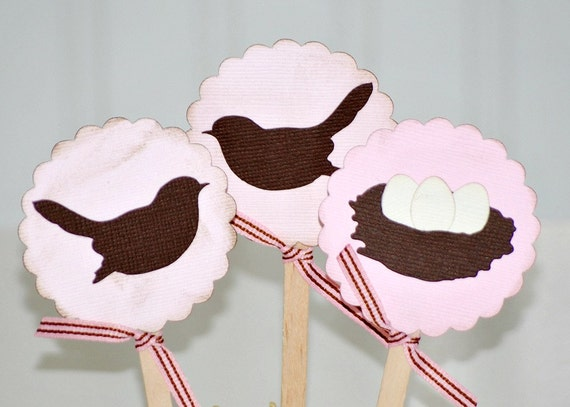 It's a Girl Cupcake Toppers Bird Nest Baby Shower Decorations
