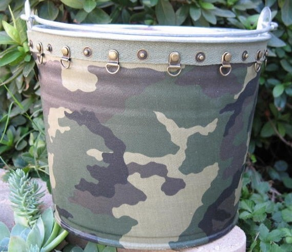 Camouflaged Pail Gift Bucket Military Birthday Party Galvanized Fabric Covered Large Green